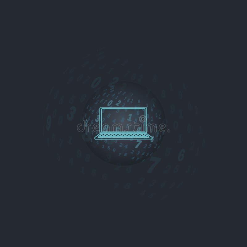 Digitaal transparant gebied Een bal met aantallen op een donkere achtergrond met gecentreerd laptop stock illustratie