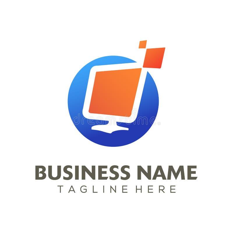 Digitaal van het reclameembleem en pictogram ontwerp vector illustratie