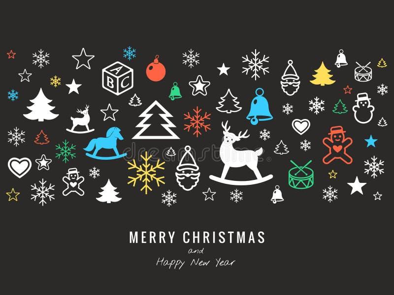 Digitaal vector donker gelukkig nieuw jaar vector illustratie