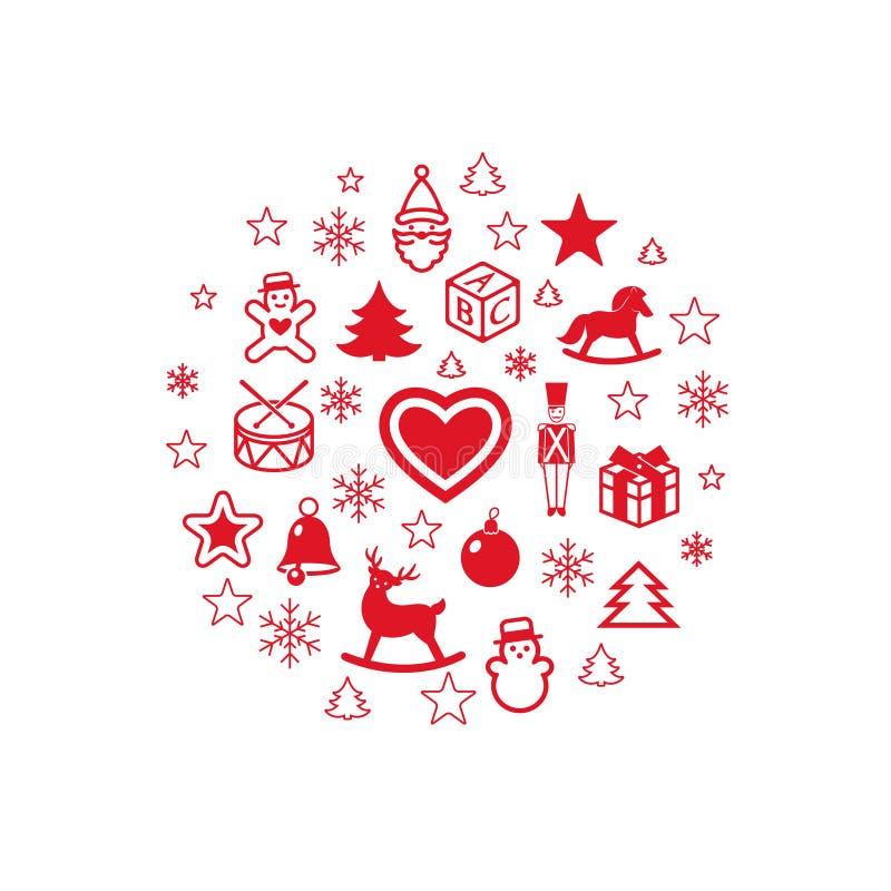 Digitaal vector rood gelukkig nieuw jaar stock illustratie