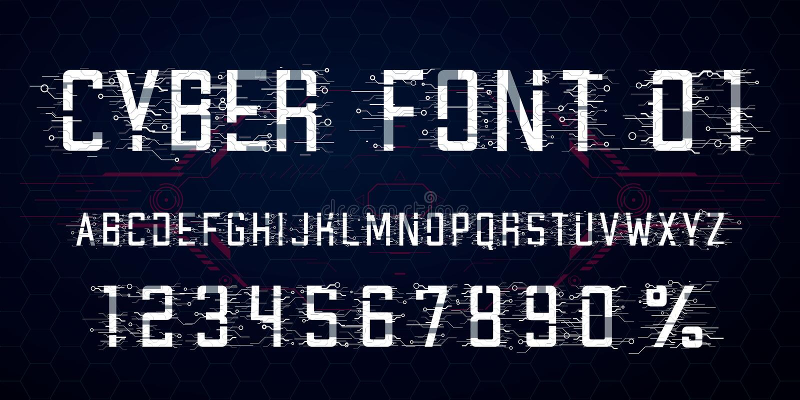 Digitaal vectorlettertypeontwerp Letters, Getallen en percentensymbool voor Cyber-Maandag, Hi-tech stijl vector illustratie