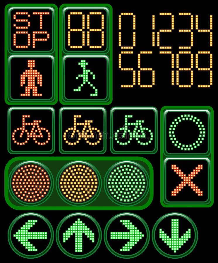 Digitaal verkeerslicht stock illustratie