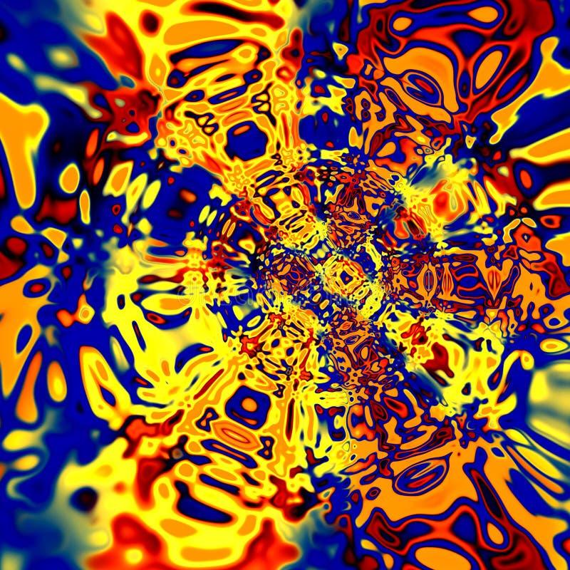 Digitaal Vervormingskunstwerk Kleurrijke Rode Gele Blauwe Illustratie Creatieve Psychedelische Achtergrond Surreal Artistieke Dra royalty-vrije illustratie