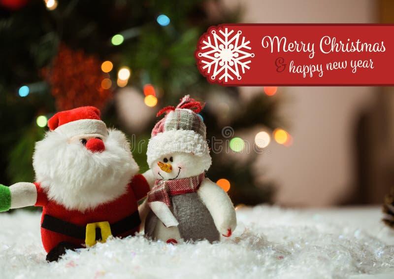 Digitaal wenst het samengestelde beeld van vrolijke Kerstmis en gelukkig nieuw jaar met de Kerstman en sneeuwman dit stock afbeelding