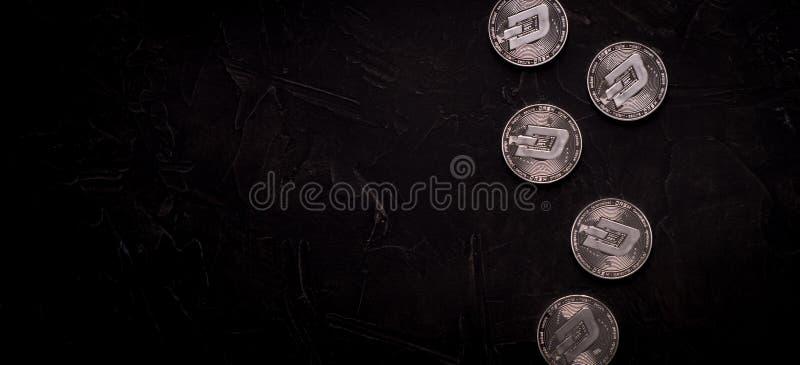 Digitaal zilveren dashcoinmuntstuk van het munt fysiek metaal stock afbeelding
