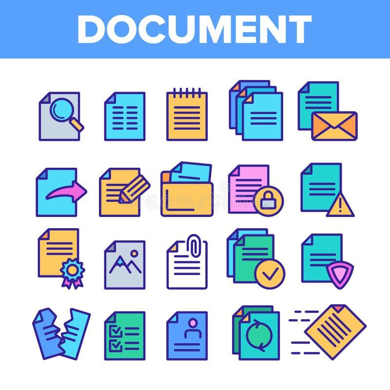 Digitaces, documentos del ordenador, sistema linear de los iconos del vector del fichero ilustración del vector