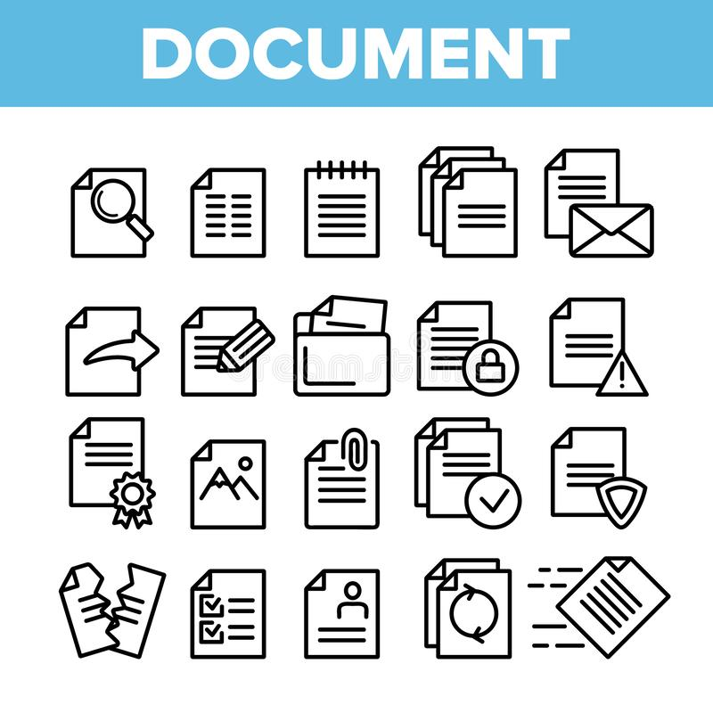Digitaces, documentos del ordenador, sistema linear de los iconos del vector del fichero stock de ilustración