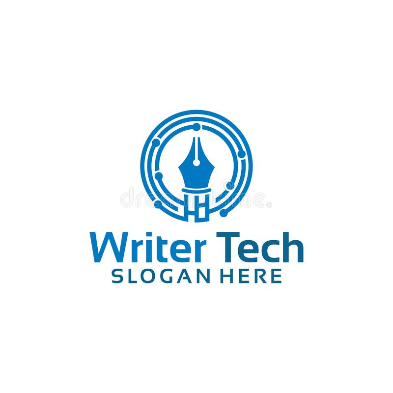 Digitaces escriben la plantilla del logotipo, vector de los diseños del logotipo del creador de la tecnología stock de ilustración
