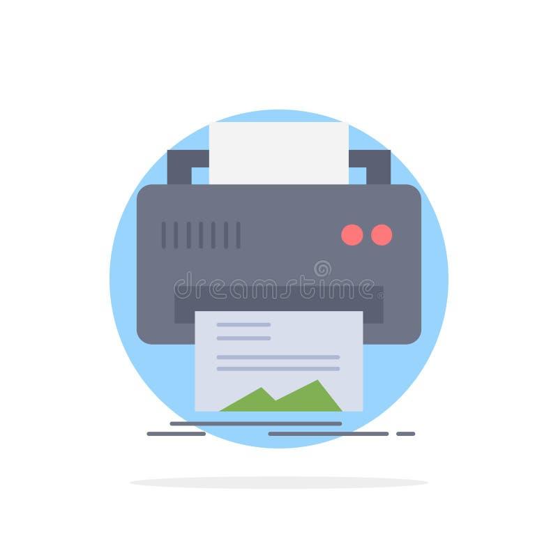 Digitaces, impresora, impresión, hardware, vector plano del icono del color del papel stock de ilustración