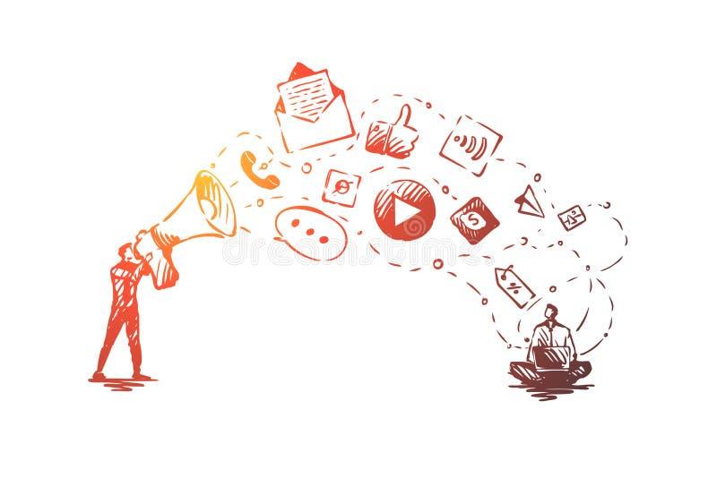 Digitaces, márketing, en línea, página web, concepto de los medios Vector aislado dibujado mano stock de ilustración