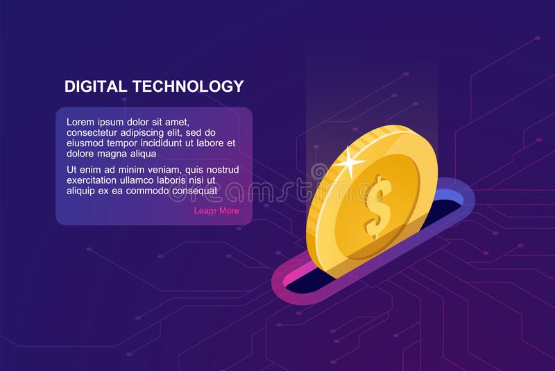 Digitaces que depositan el icono en línea, isométrico de la moneda que cae, monedero electrónico de Internet, servicio online de  libre illustration