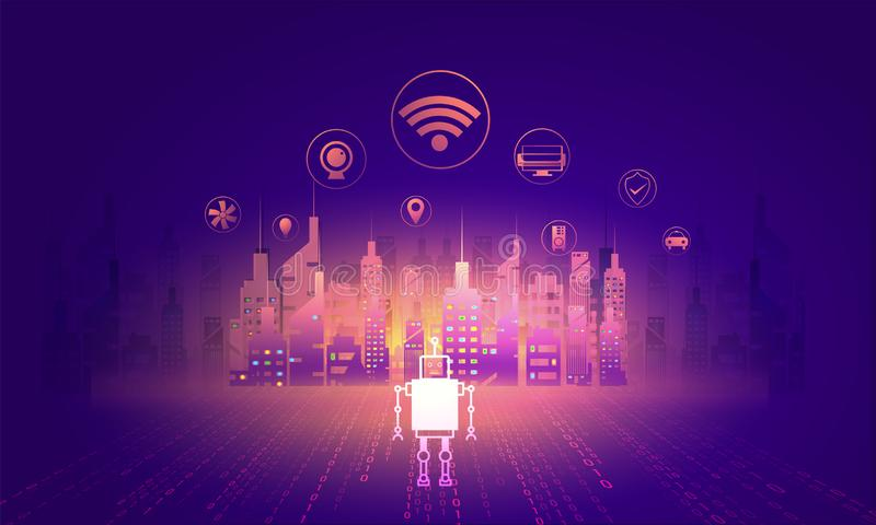 Digitaces y concepto de la tecnología de la ciudad elegante, ejemplo de SK libre illustration