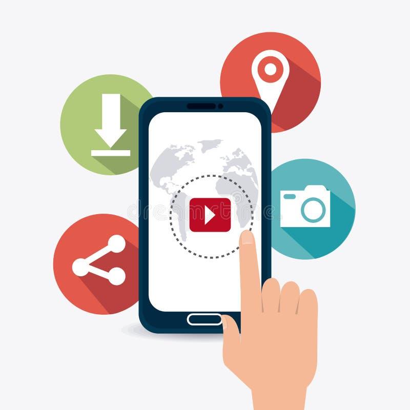 Digitaces y estrategias de marketing sociales stock de ilustración