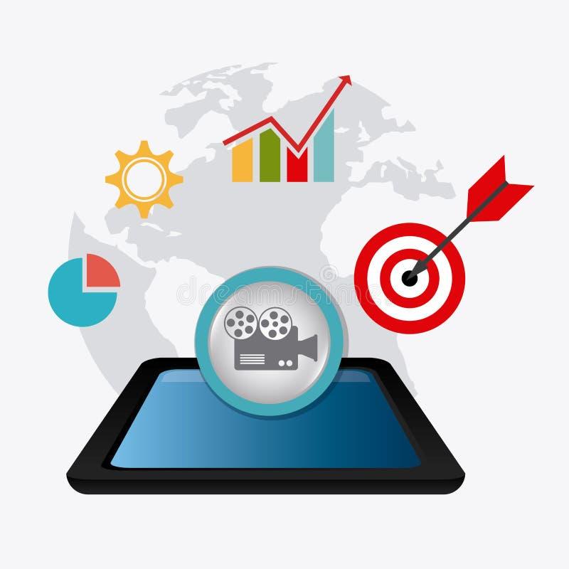 Digitaces y estrategias de marketing sociales ilustración del vector
