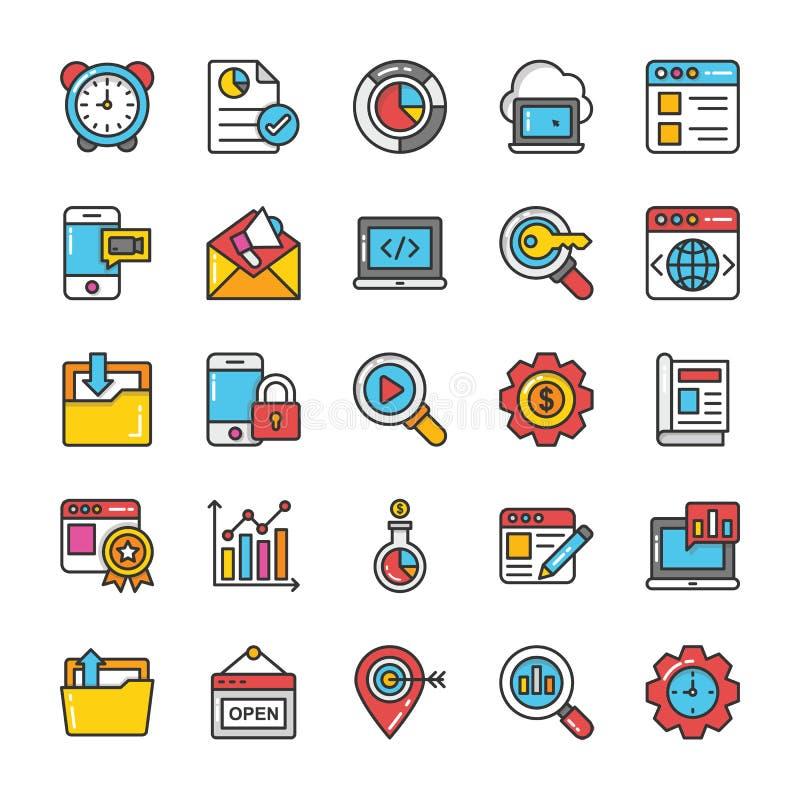 Digitaces y los iconos del vector del márketing de Internet fijaron 6 stock de ilustración