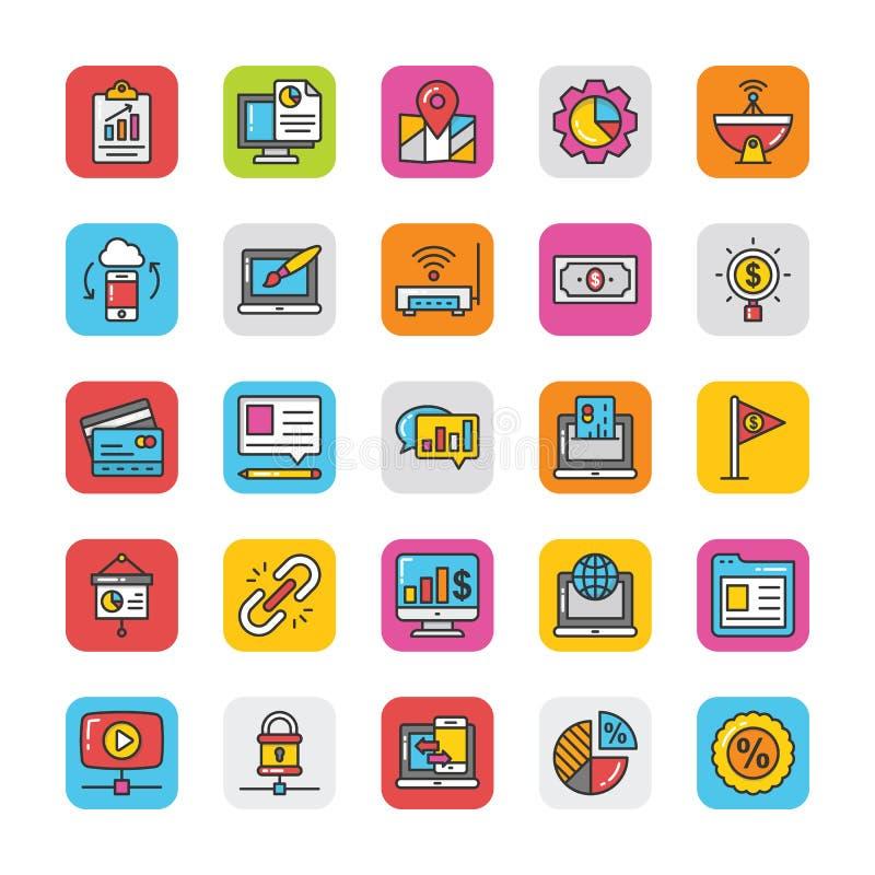 Digitaces y los iconos del vector del márketing de Internet fijaron 8 ilustración del vector