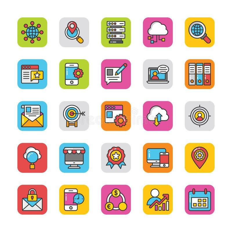 Digitaces y los iconos del vector del márketing de Internet fijaron 3 libre illustration