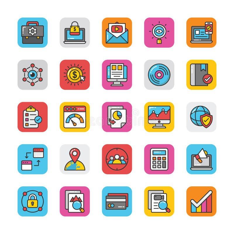 Digitaces y los iconos del vector del márketing de Internet fijaron 5 libre illustration