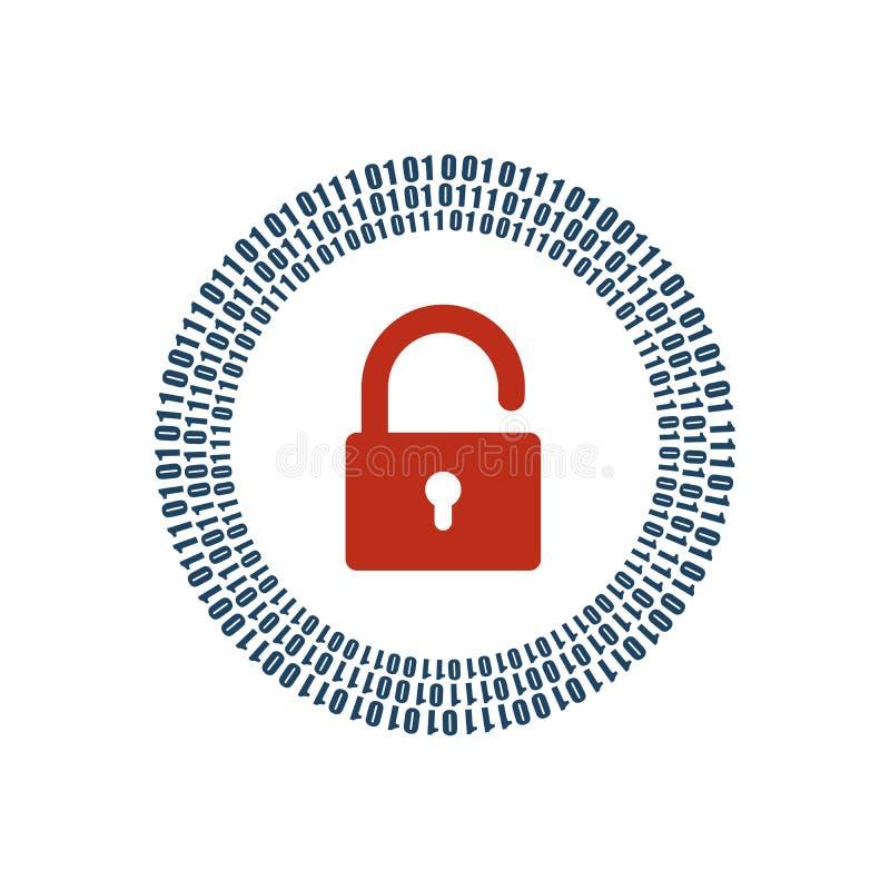 Digital öppet lås och binära siffror en och noll i cirkel runt om den Uttrycka av rött färgar lokaliserat över text av vit färgar stock illustrationer