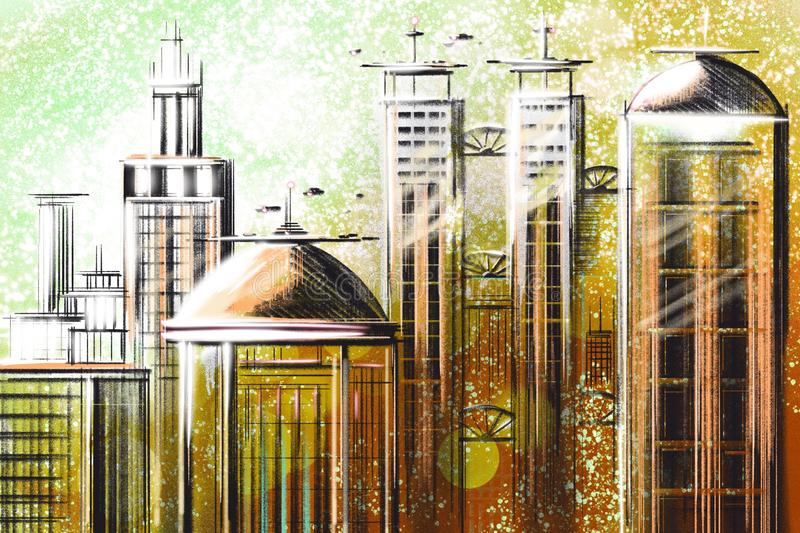 Digital abstract illustration Futuristic city in color. Business skyscrapers. Architectural technology structure hologram royalty free illustration