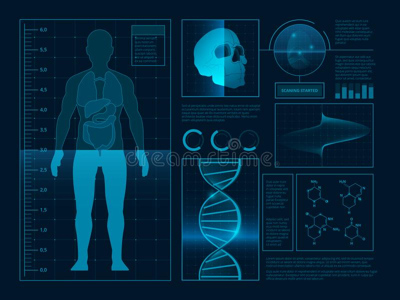 Digital abstract illustrations for health infographic. Pictures of web ui stock illustration