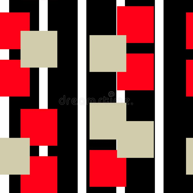 Digital abstract linear geometric seamless pattern background design in red and black colors. Vector illustration. stock illustration