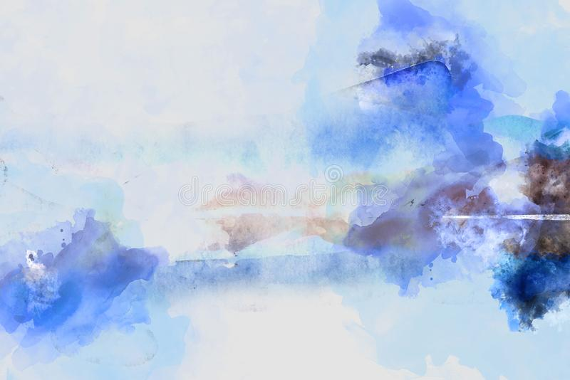 Digital abstract painting in blue shades. Watercolor illustration vector illustration
