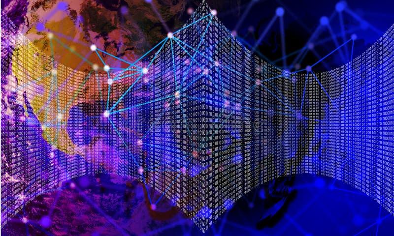 Digital abstract technology background, Binary code digital illustration. royalty free illustration