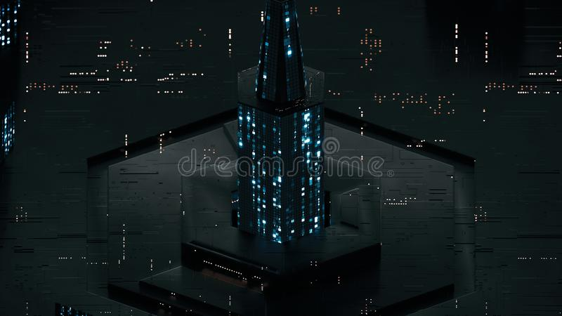 Digital abstract tower made of glowing HEX code 3D render stock illustration
