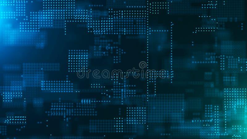 digital abstrakt bakgrund Innovativ forskning f?r vetenskaplig kemi teknologisk bakgrund matris bin?r kod Fallande prickar stock illustrationer