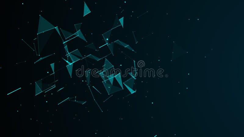 digital abstrakt bakgrund Kosmiska partiklar Effekten av plexusen Stor datavisualization framf?rande 3d royaltyfri illustrationer
