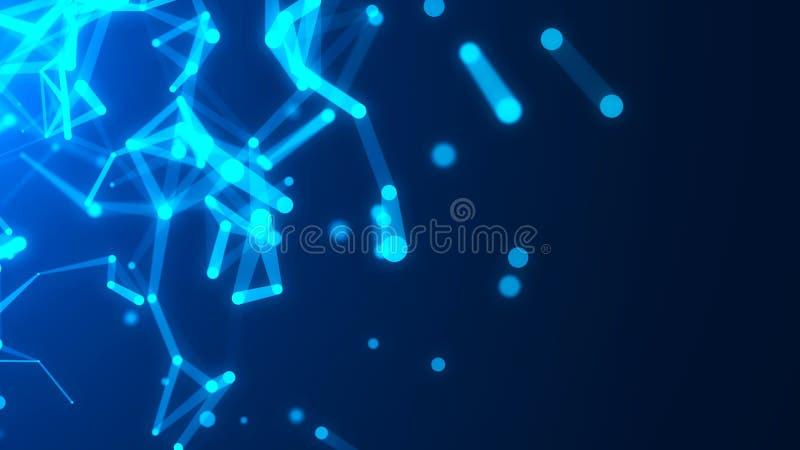 digital abstrakt bakgrund Struktur f?r n?tverksanslutning Innovativ forskning f?r vetenskaplig kemi framf?rande 3d royaltyfri illustrationer