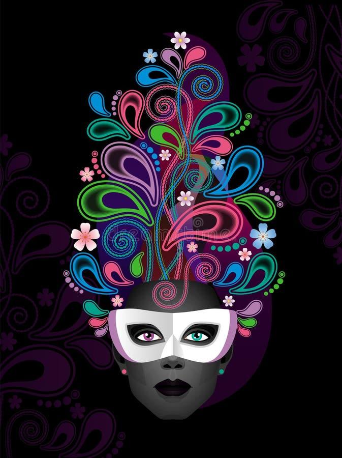 Digital abstrakt målning av en kvinnlig framsida i karnevalmaskering royaltyfri illustrationer