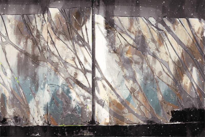 Digital abstrakt målning i duplexfärgton för bakgrund, monoton bakgrund royaltyfri illustrationer