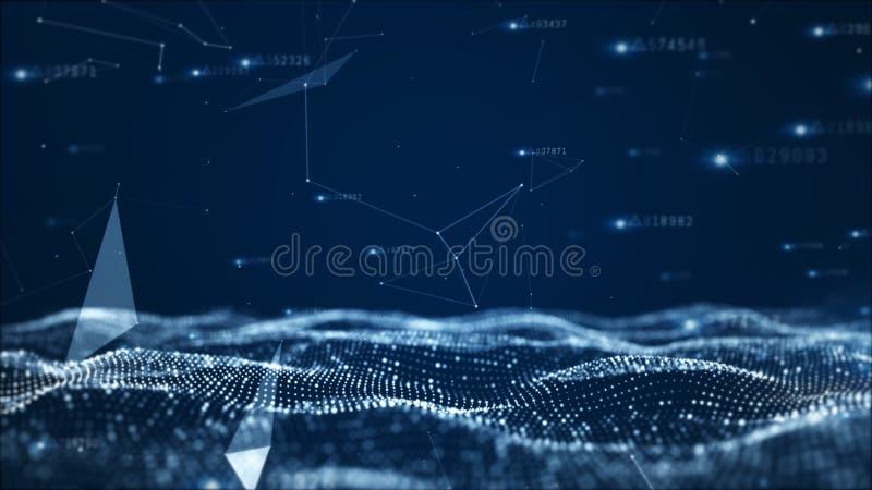 Digital abstrakt partikel- och nätverksdatabakgrund royaltyfri illustrationer