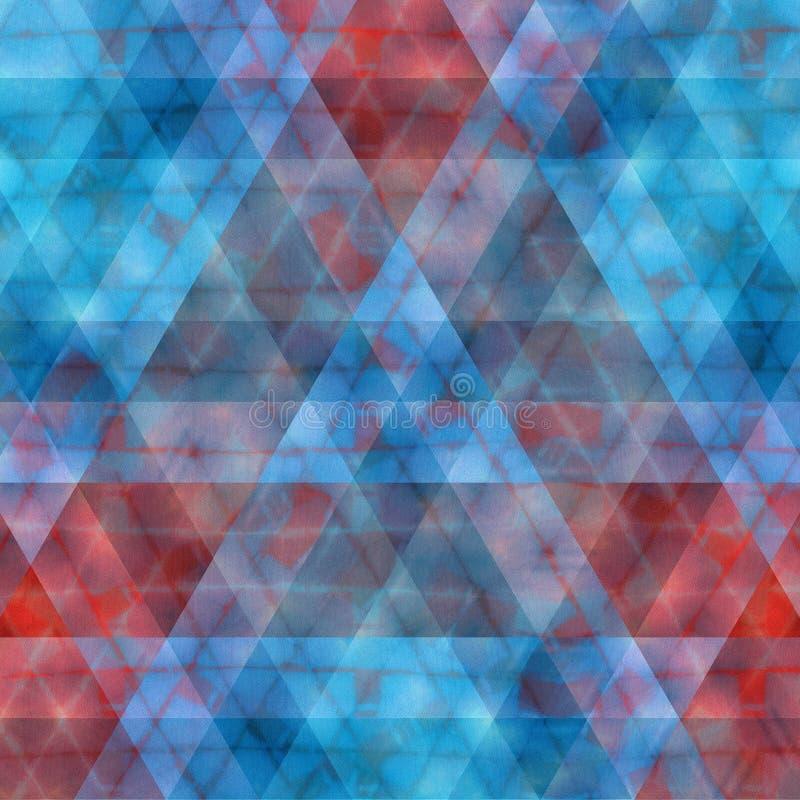 Digital abstrakt sömlös modell för röd och blå vibrerande suddig triangel stock illustrationer