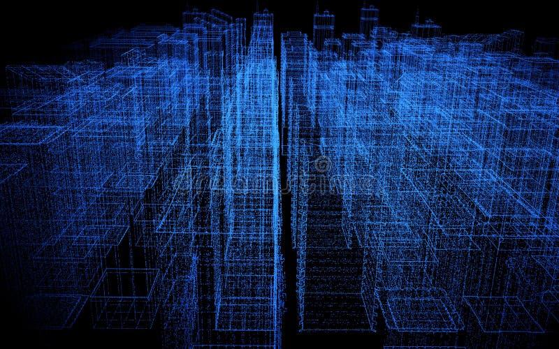 Digital abstrakt stad som göras av glödande prickar vita georgia för atlanta svarta affärscityscape skyskrapor Hologrambyggnader  royaltyfri illustrationer