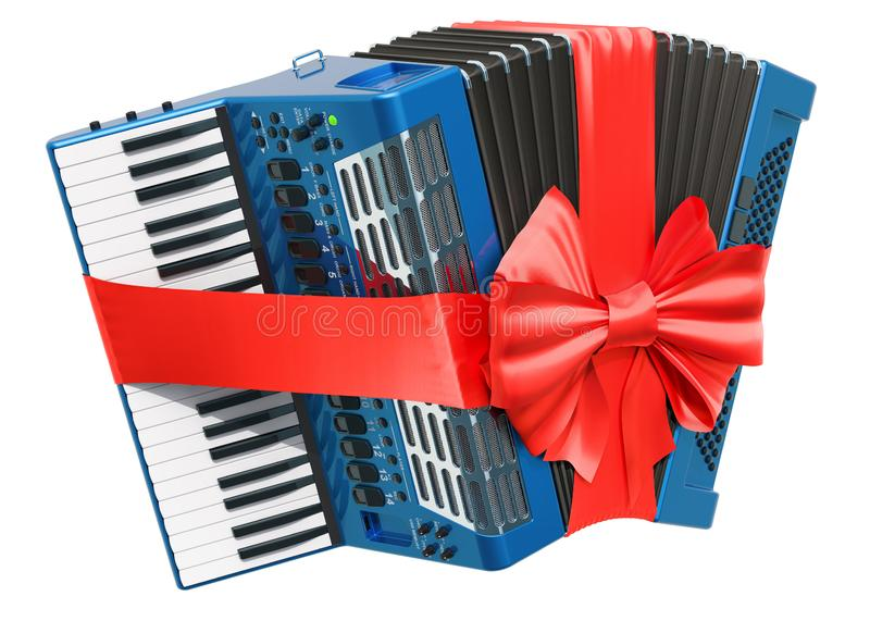 Digital accordion with bow and ribbon, gift concept. 3D rendering. Isolated on white background stock illustration