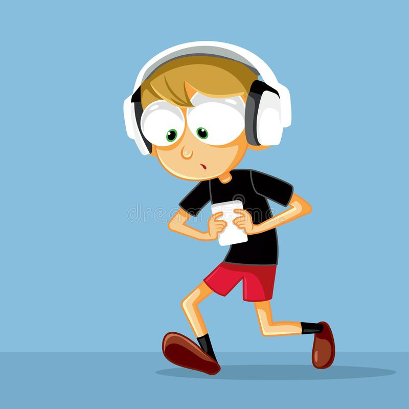 Funny Boy with Headphone Checking His Smartphone Vector Illustration. Digital addiction concept cartoon illustration royalty free illustration