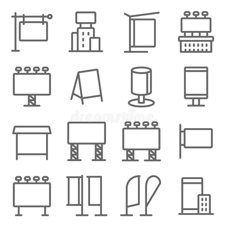 Digital Advertise Media Icons Set Vektorgrafik Enthält z. B. Werbung, Poster, Reklametafeln, Beschriftungen und vieles mehr Ex stock abbildung