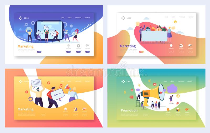 Digital Advertising Marketing Landing Page Set. Business Character Social Communication Concept. Online Media Strategy. For Website or Web Page. Flat Cartoon vector illustration