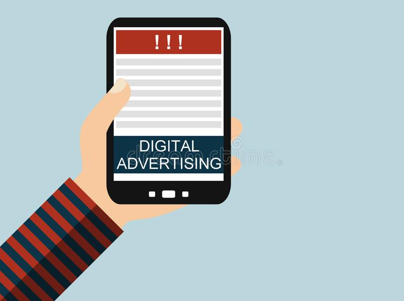 Digital Advertising on mobile phone stock illustration