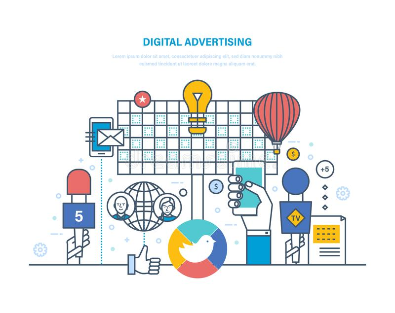 Digital advertising, targeted interactive content marketing, media planning, brand promotion. stock illustration