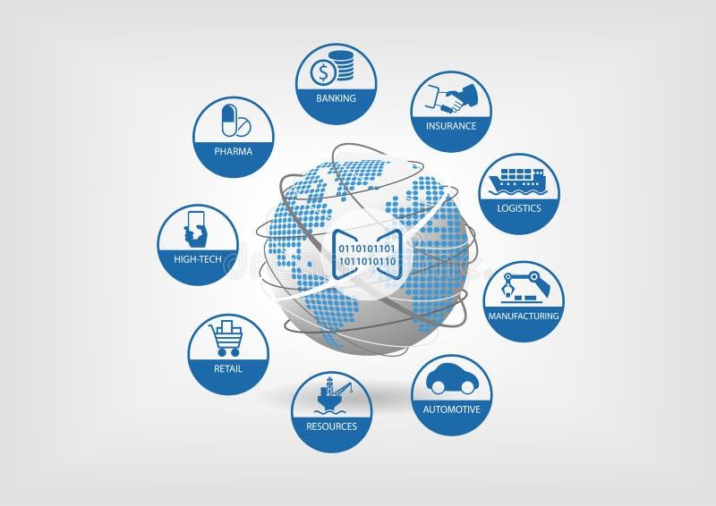 Digital affärsillustration Symboler av globala digitala branscher gillar att packa ihop, försäkring, logistik stock illustrationer