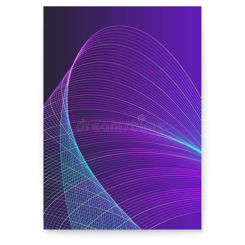 Digital affisch med vridna kulöra linjer, blandad färg Dynamiska flödande vågor på mörk bakgrund Abstrakt rotert krabbt stock illustrationer