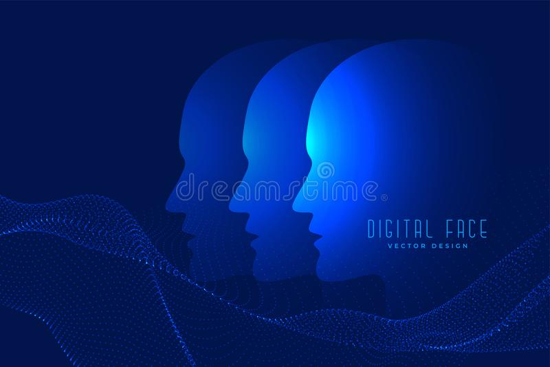 Digital ai face with particle face technology background royalty free illustration