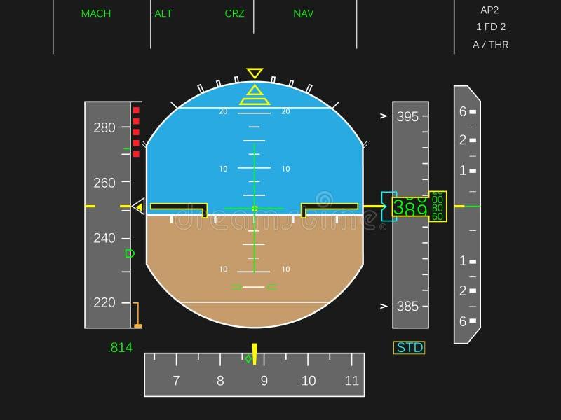 Digital airplane instruments vector royalty free illustration