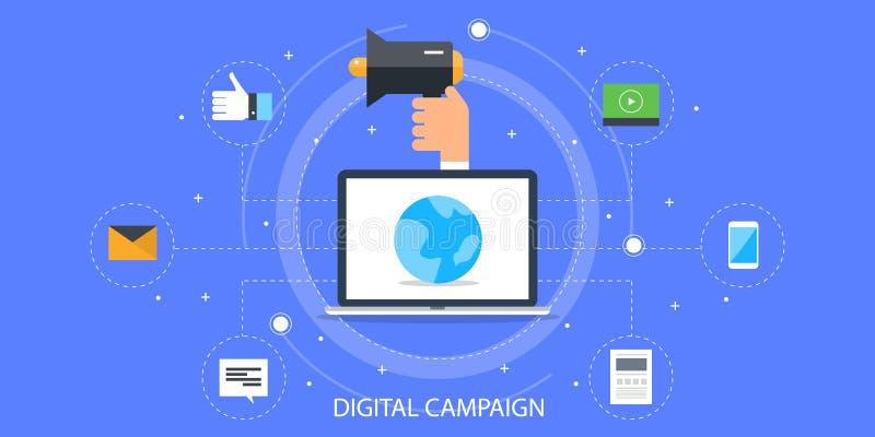 Digital aktion - digitalt marknadsföra för massmedia Digitalt massmediabaner för plan design royaltyfri illustrationer