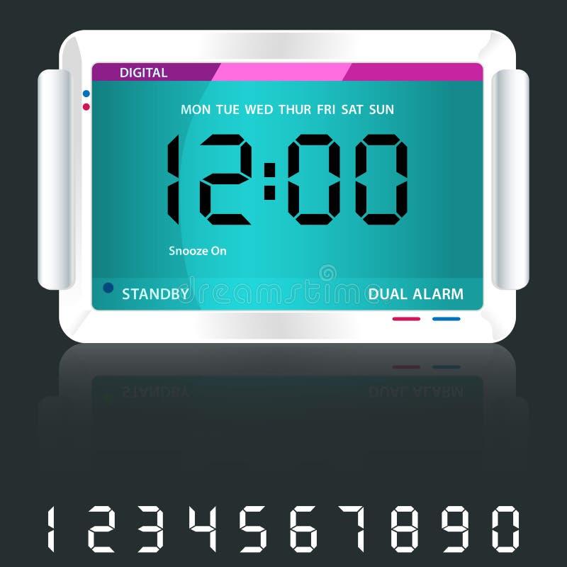 Digital alarm clock blue royalty free illustration