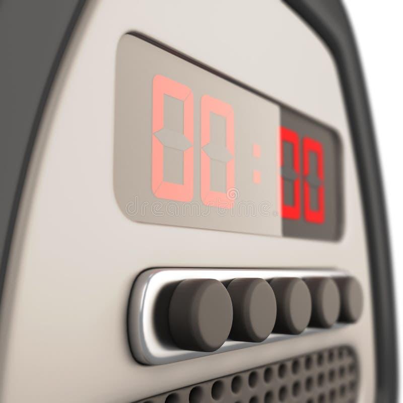 Digital alarm clock close-up. 3d. royalty free illustration